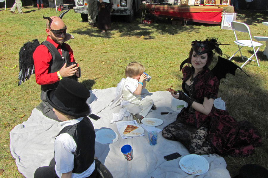 Gothic Family Picnic with Mom in the Shade