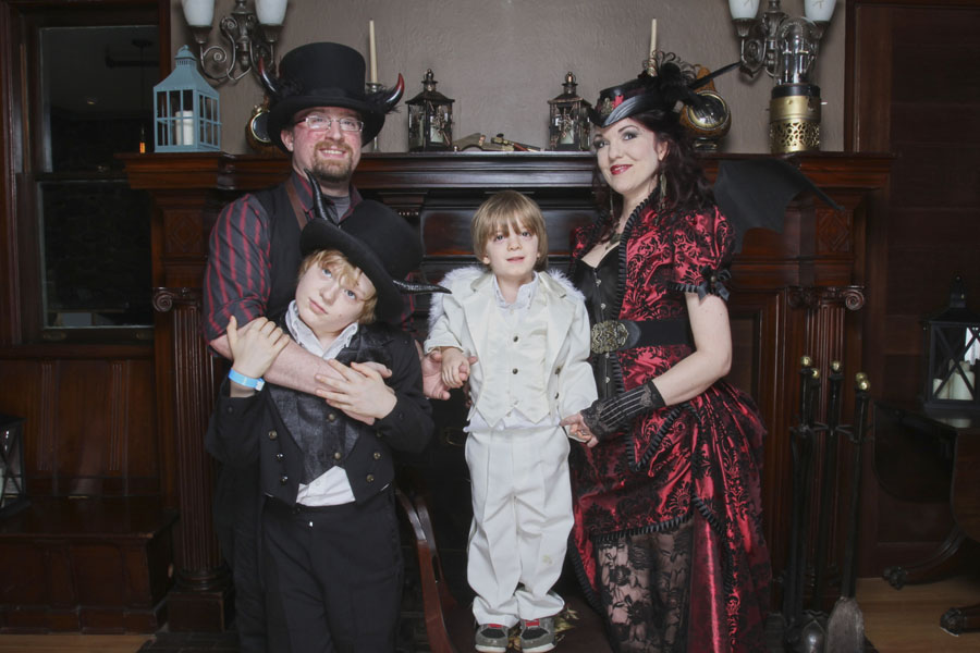 Our Family, as Steampunk Devils and baby Angel