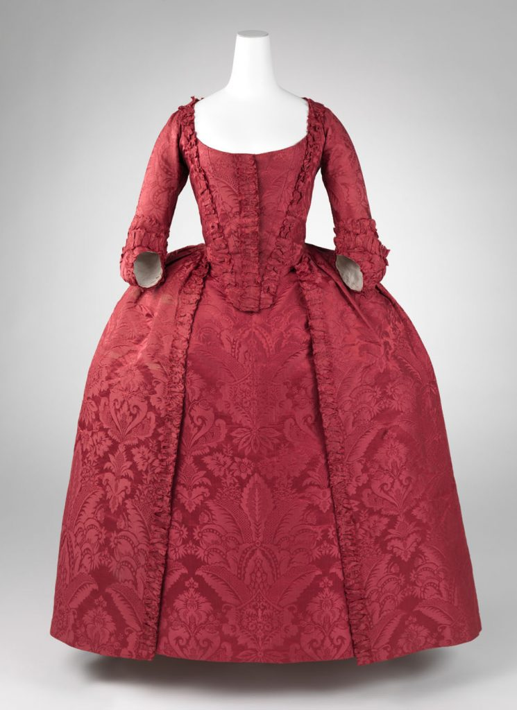 Robe à l'Anglaise in Silk Damask