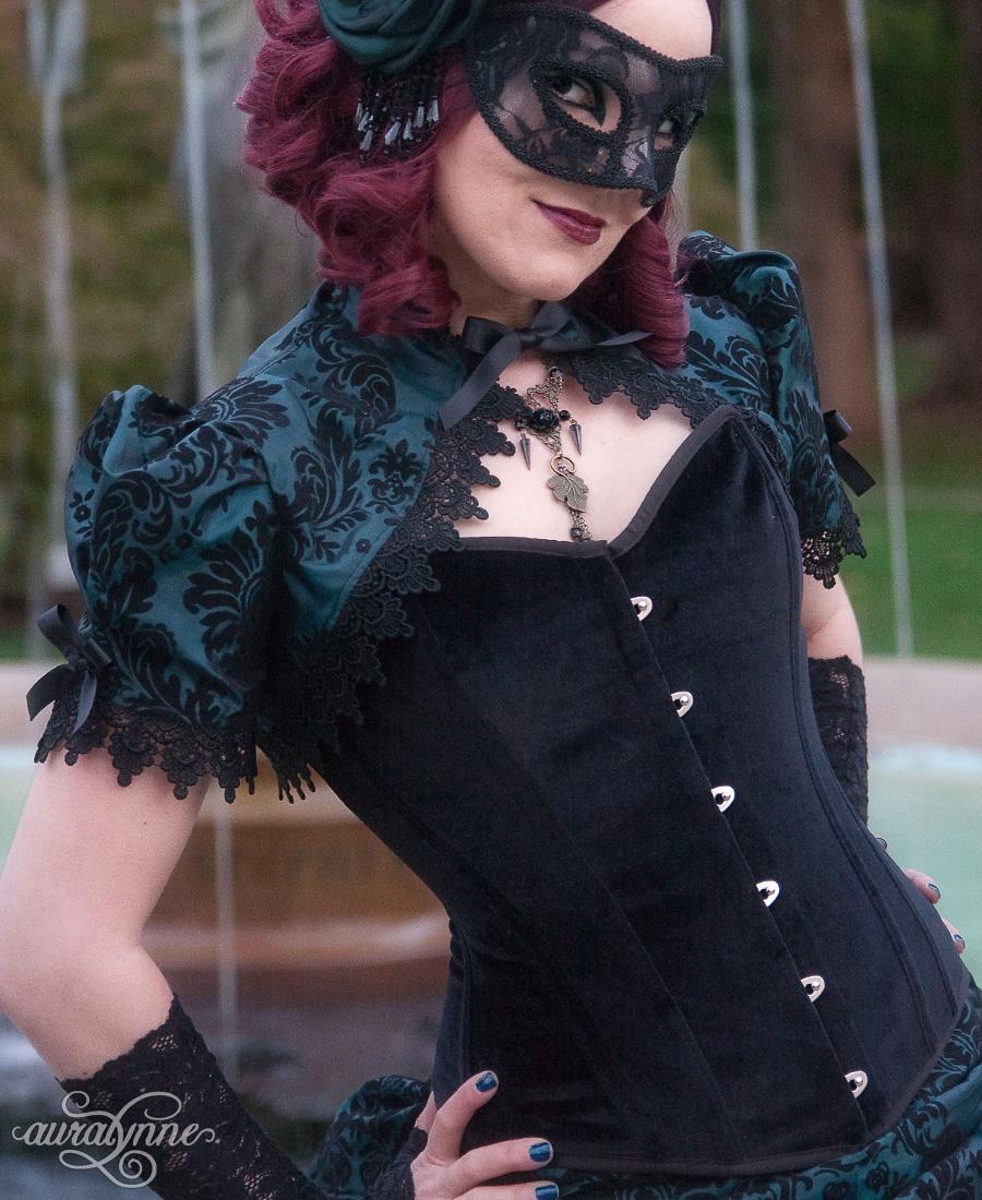 A black velvet overbust corset