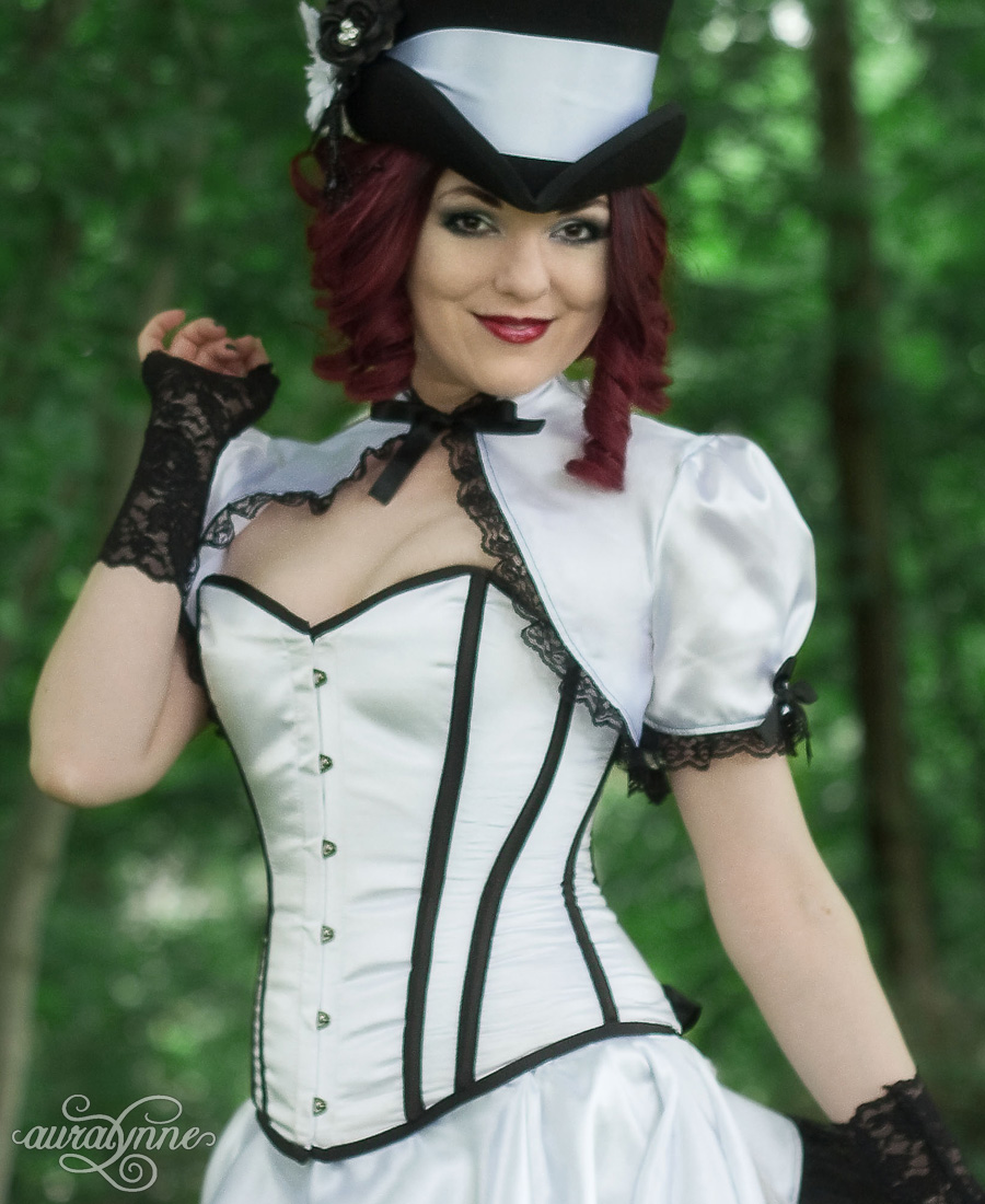 A white and black stripe overbust corset