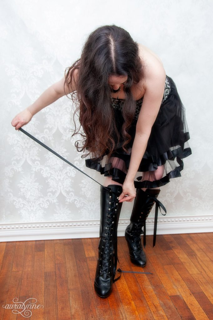 Lacing my last boot in a corset