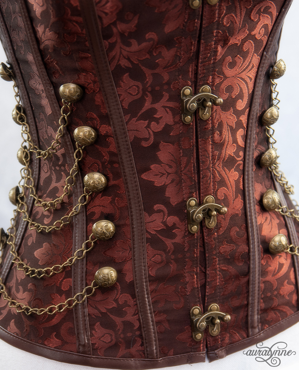 Brown Steampunk Corset Closeup