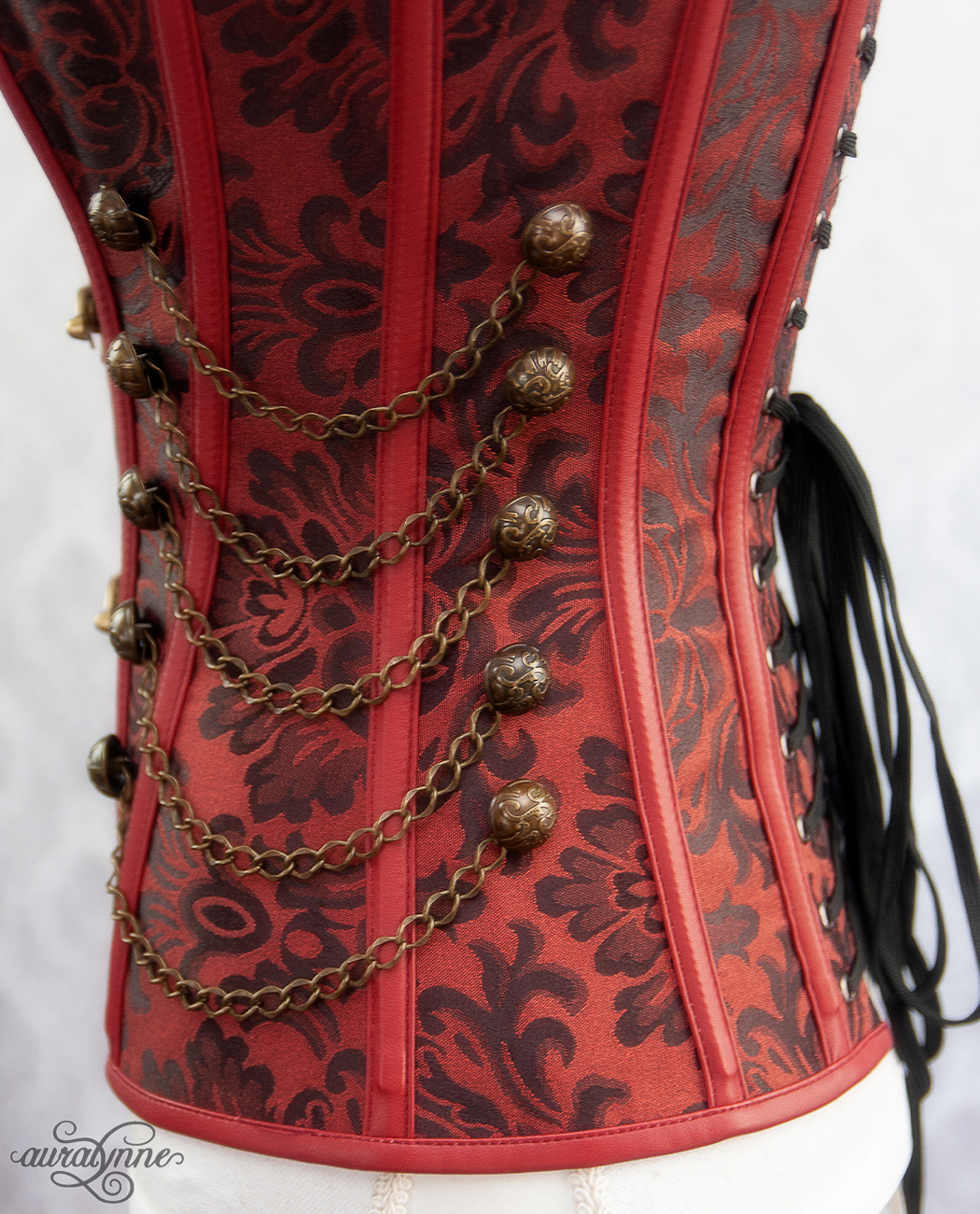 Red Steampunk Corset Side Detail