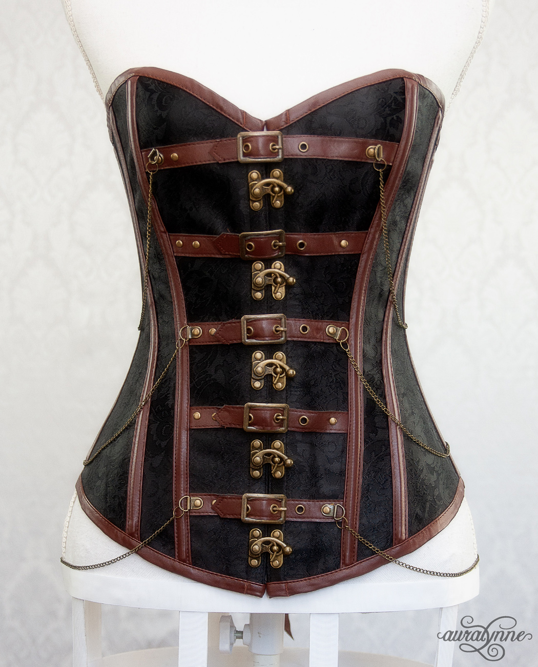 Copper Brown Steampunk Corset Front