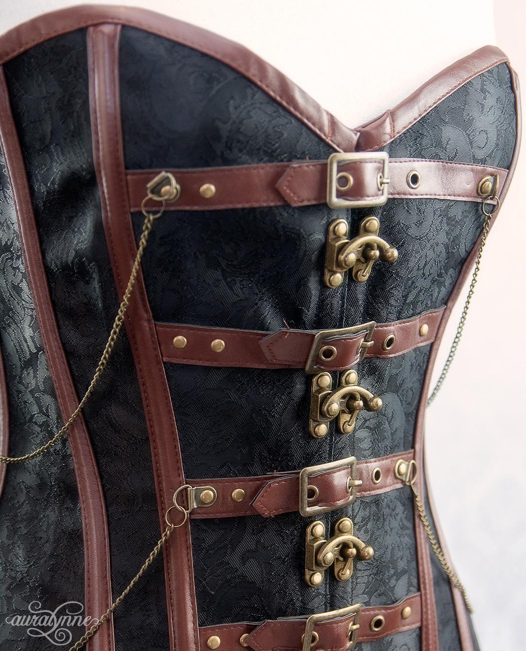Copper Brown Steampunk Corset Closeup