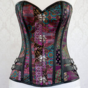Purple Multi Steampunk Corset Front VIew
