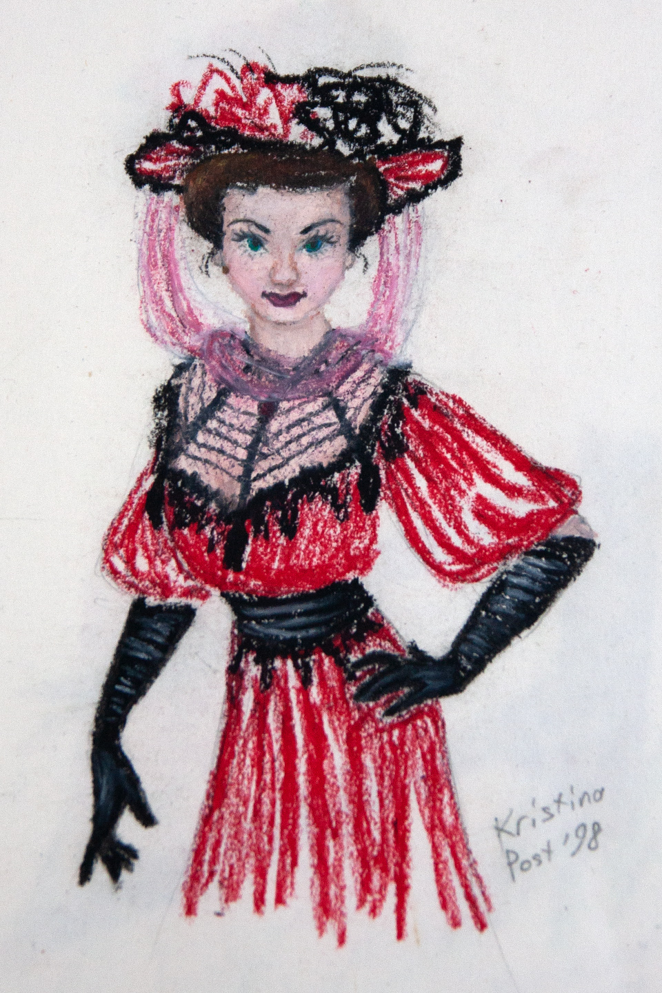 Victorian Lady in Red and Black