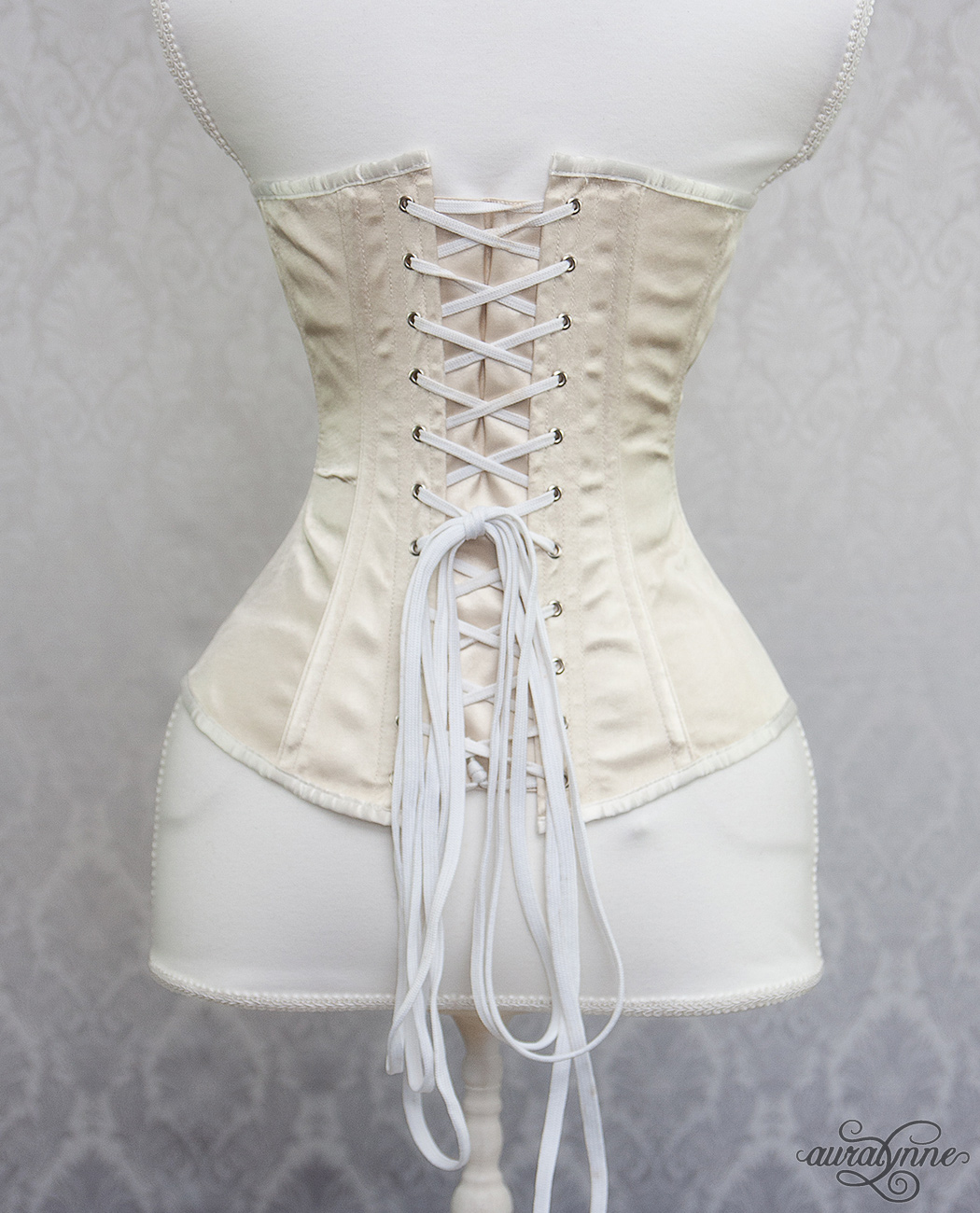 Ivory Satin Hourglass Corset Back