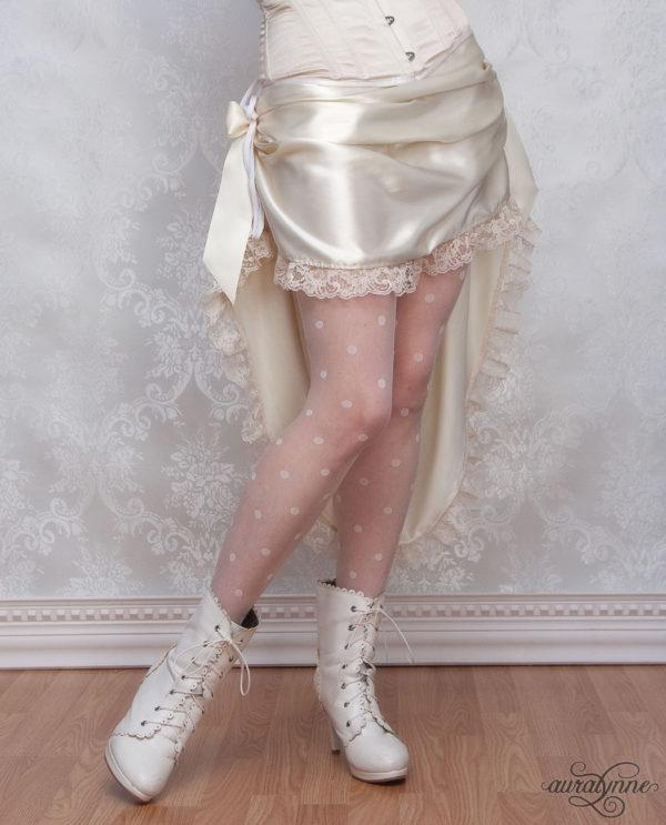 Ivory Bustle Skirt Modeled