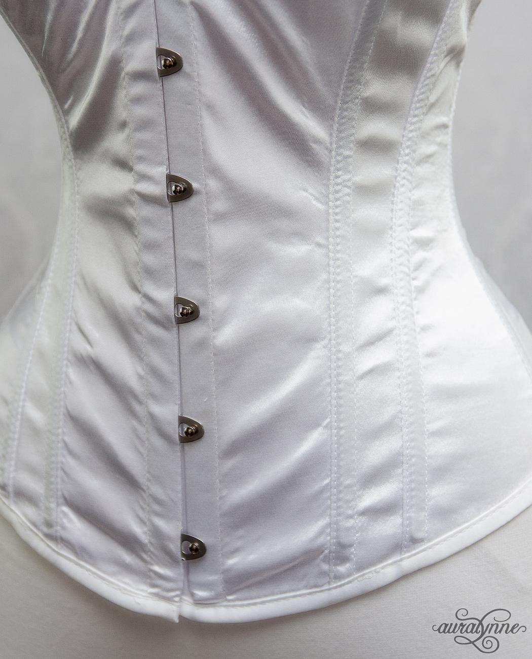 White Satin Hourglass Corset Closeup