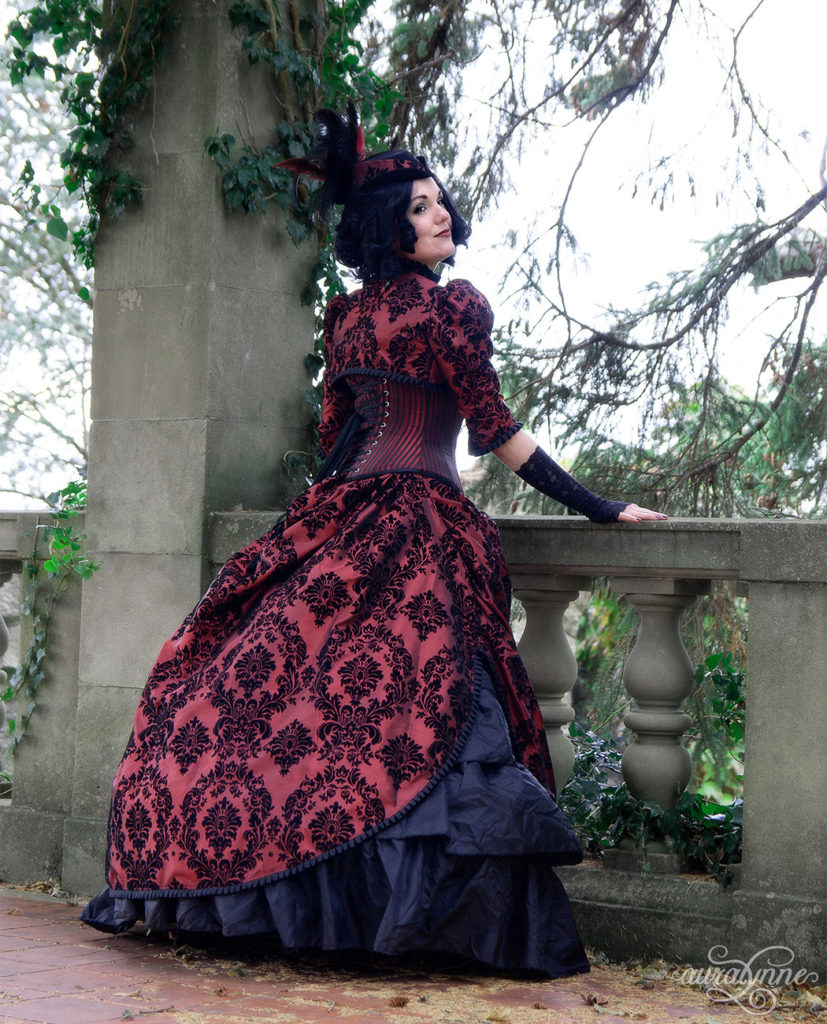 Burgundy Steampunk Wedding Dress