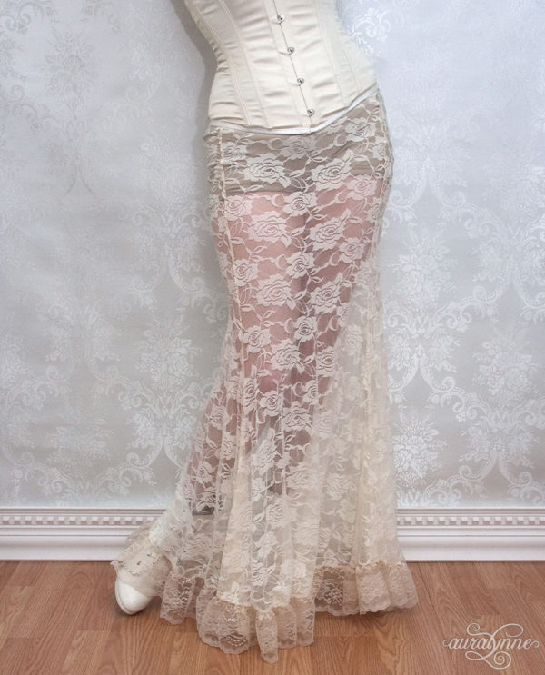 Ivory Lace Trumpet Skirt
