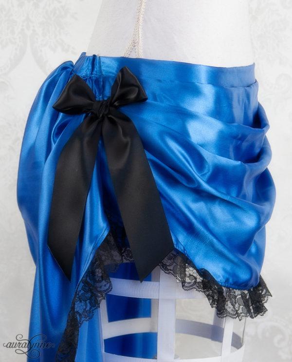 Blue Bustle Skirt Closeup